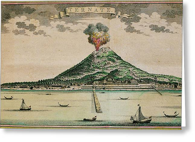 Mount Gamalama Volcano Erupting Greeting Card by George Bernard/science Photo Library