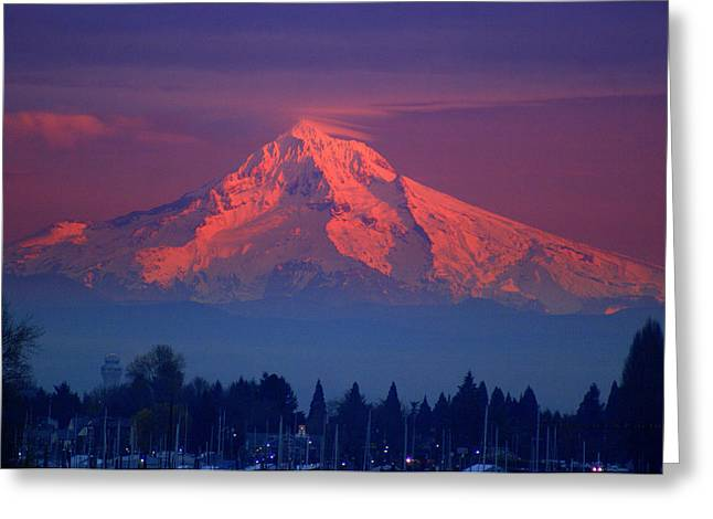 Mount Hood At Sunset Greeting Card by DerekTXFactor Creative