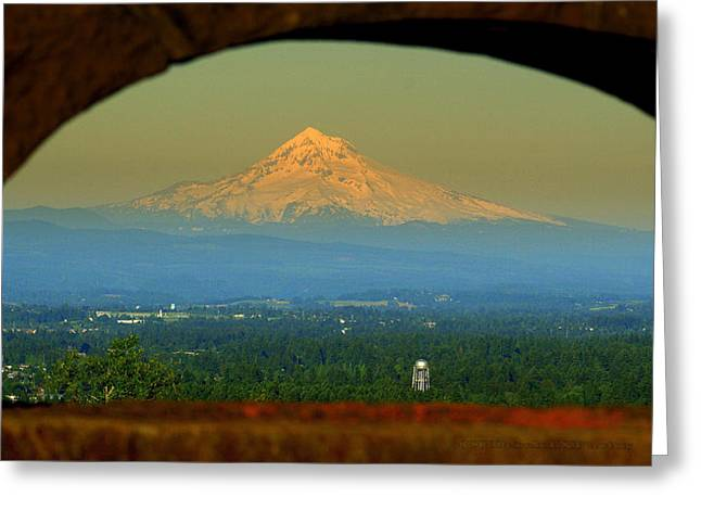 Mount Hood Framed Greeting Card by DerekTXFactor Creative