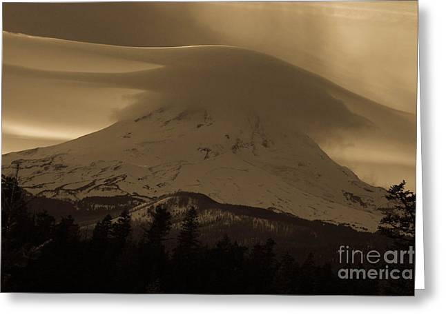 Mount Hood In The Clouds Greeting Card by Cari Gesch