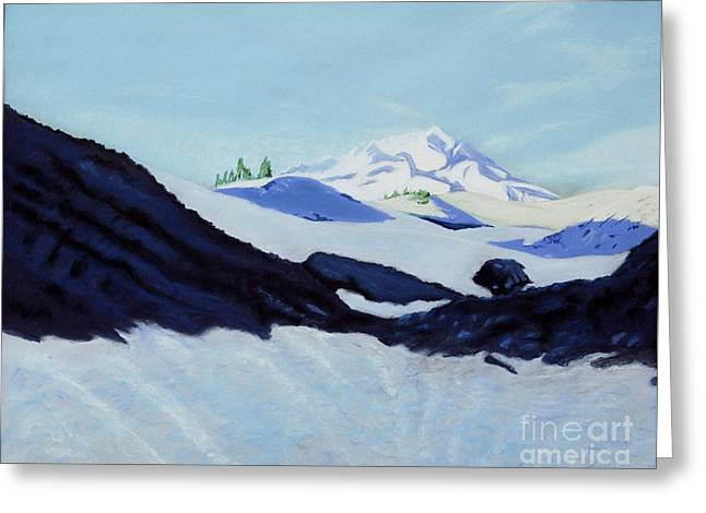 Greeting Card featuring the painting Mount Hood by Robert Coppen