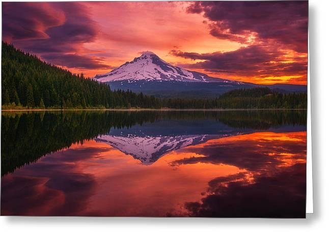 Mount Hood Sunrise Greeting Card by Darren  White