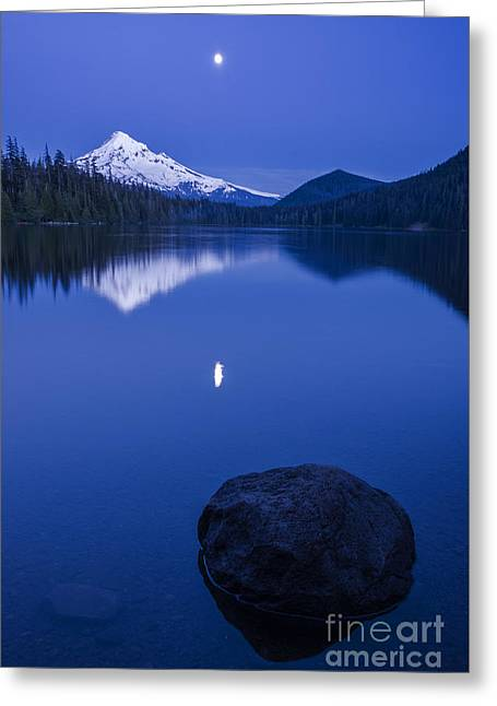 Mount Hood Under Moon Light Greeting Card by Vishwanath Bhat