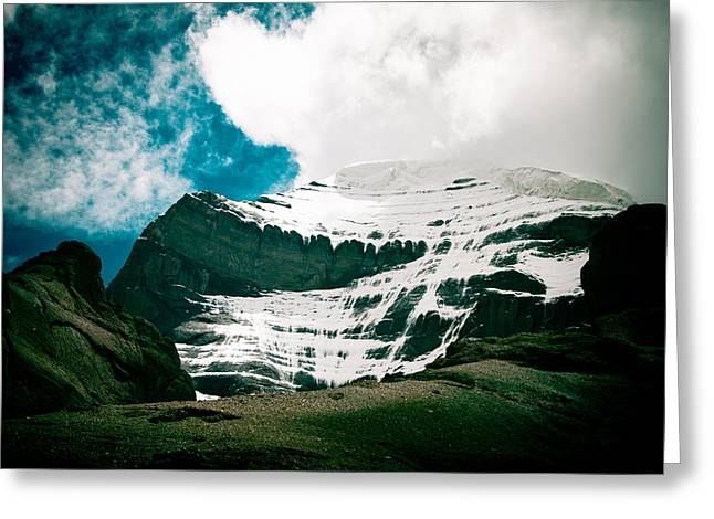 Mount Kailash Western Slope Home Of The Lord Shiva Greeting Card