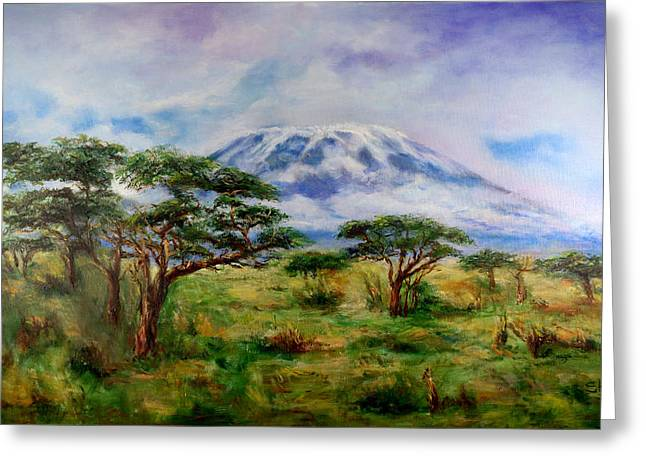 Greeting Card featuring the painting Mount Kilimanjaro Tanzania by Sher Nasser