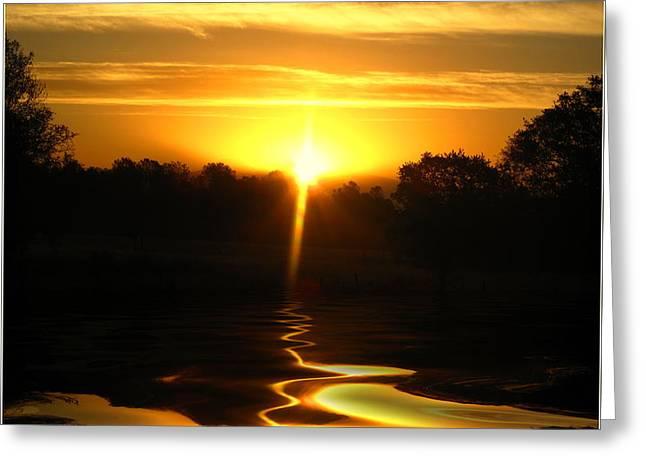 Mount Lassen Sunrise Gold Greeting Card