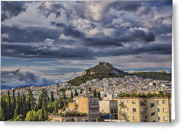 Greeting Card featuring the photograph Mount Lycabettus In Late Afternoon by Micah Goff