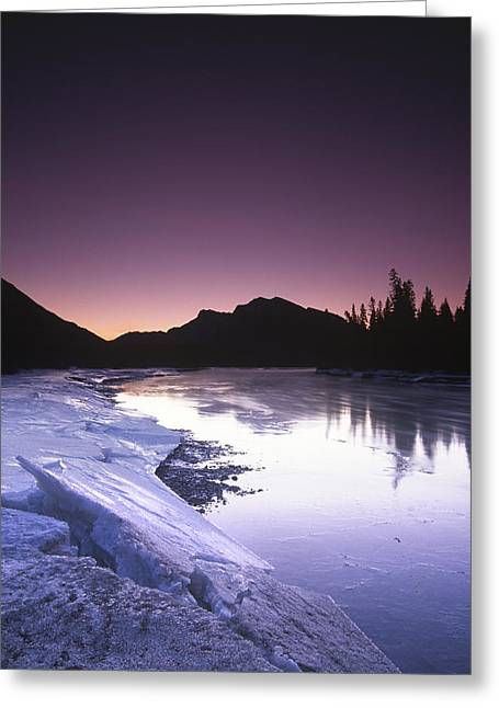 Mount Mcgillvary Silhouetted Behind An Icy Bow River Greeting Card by Richard Berry