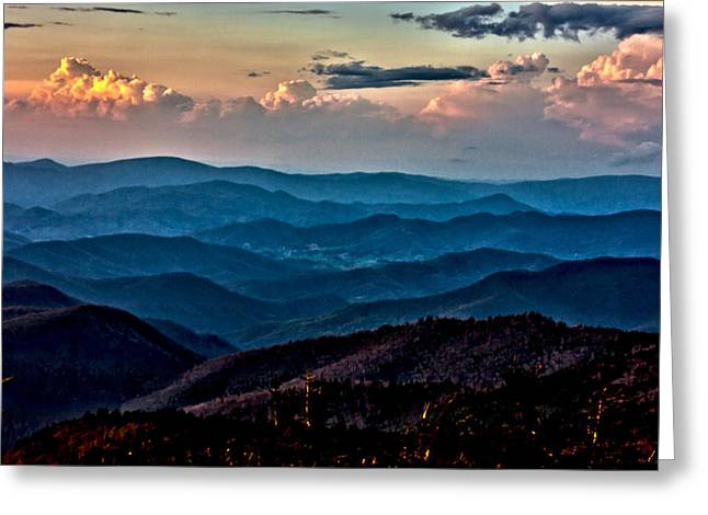 Greeting Card featuring the photograph Mount Mitchell Sunset by John Haldane