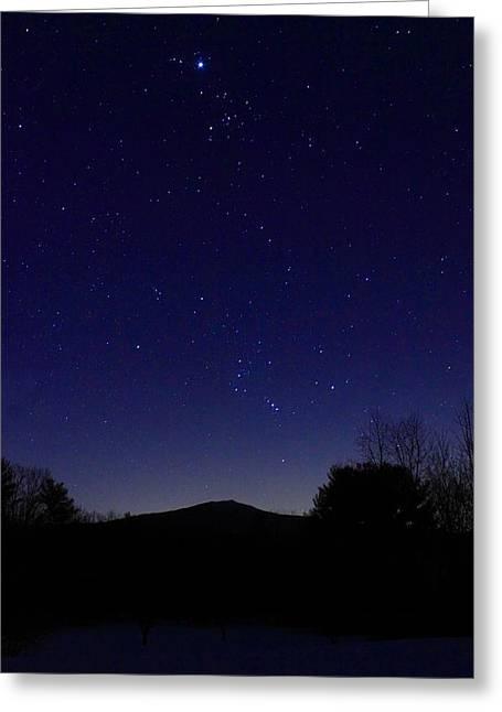 Mount Monadnock Winter Night Sky Greeting Card