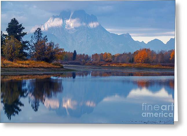 Mount Moran From Oxbow Bend In Autumn Greeting Card