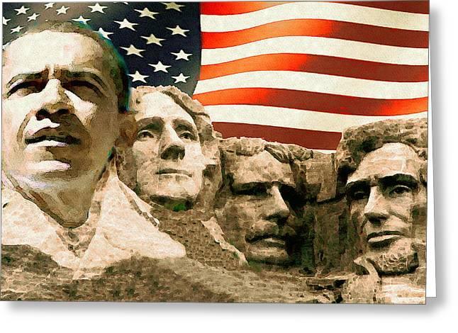 Barack Obama On Mount Rushmore - American Art Poster Greeting Card