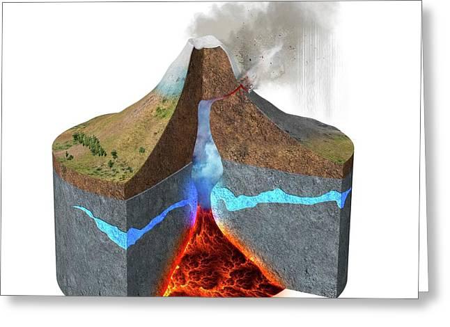 Mount Ontake Eruption Greeting Card by Claus Lunau