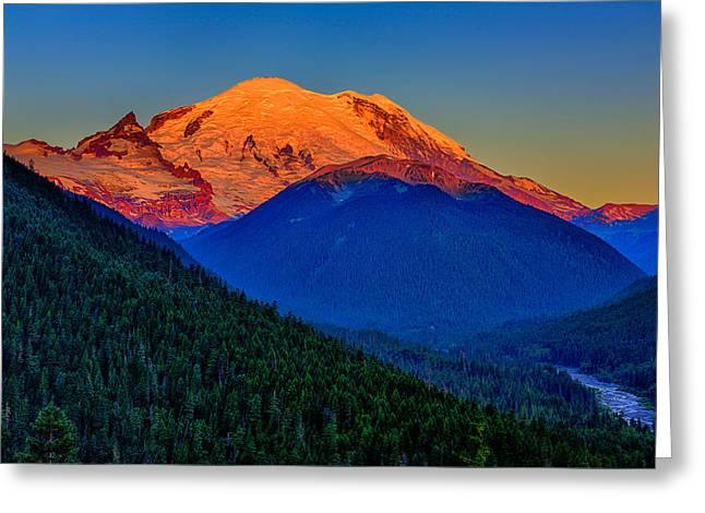 Mount Rainier Alpenglow Greeting Card
