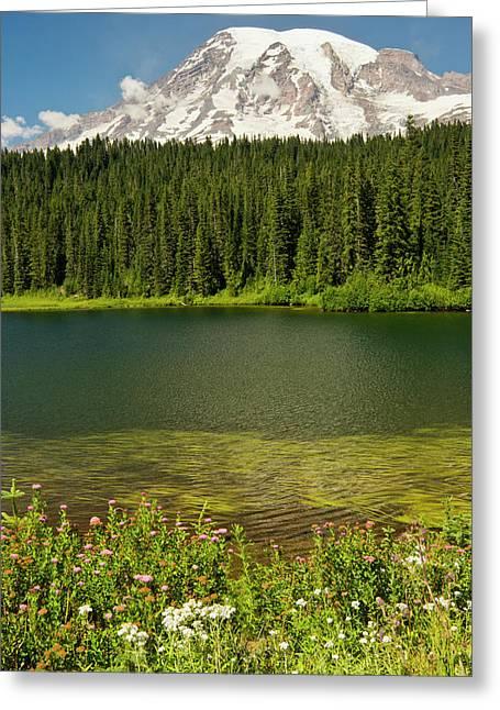 Mount Rainier And Reflection Lake Greeting Card