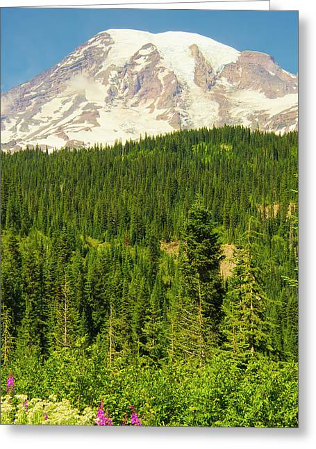 Mount Rainier And Wildflowers, Louise Greeting Card
