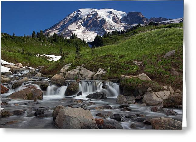 Greeting Card featuring the photograph Mount Rainier At Edith Creek by Bob Noble Photography