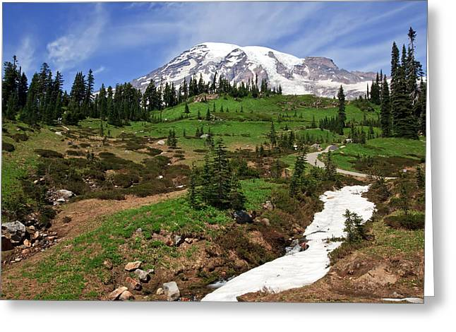 Greeting Card featuring the photograph Mount Rainier At Paradise by Bob Noble Photography