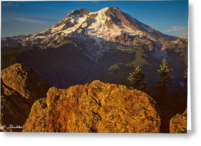 Greeting Card featuring the photograph Mount Rainier At Sunset With Big Boulders In Foreground by Jeff Goulden