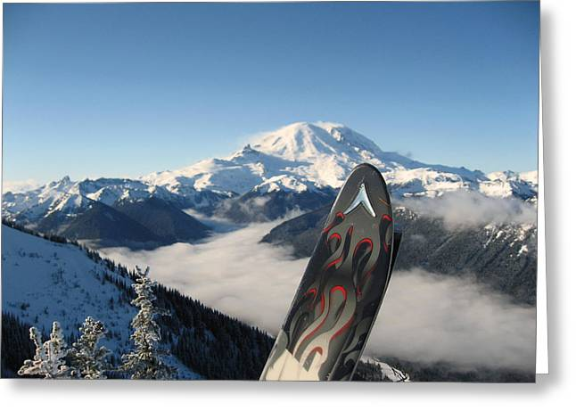 Mount Rainier Has Skis Greeting Card by Kym Backland