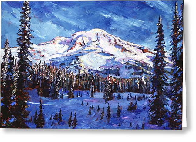 Mount Rainier Impressions Greeting Card by David Lloyd Glover