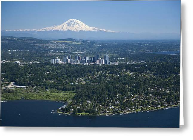 Mount Rainier, Lake Washington Greeting Card by Andrew Buchanan/SLP