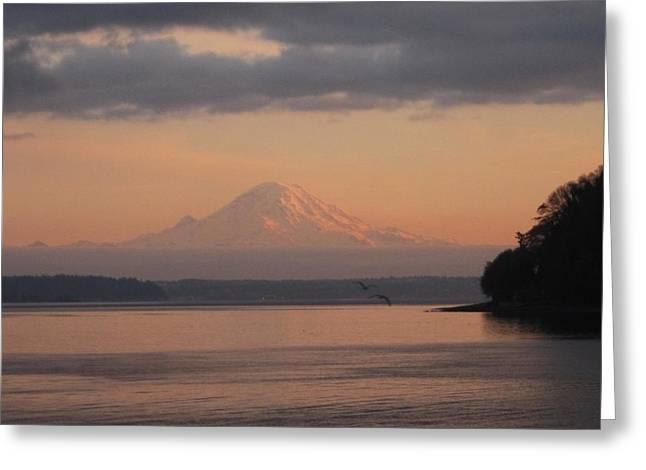 Greeting Card featuring the photograph Mount Rainier Sunset by Karen Molenaar Terrell
