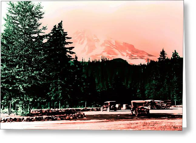 Mount Rainier With Vintage Cars Early 1900 Era... Greeting Card