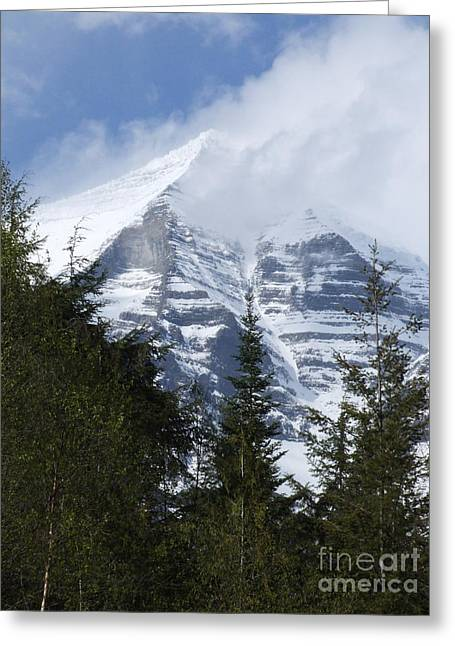 Greeting Card featuring the photograph Mount Robson - Spindrift by Phil Banks