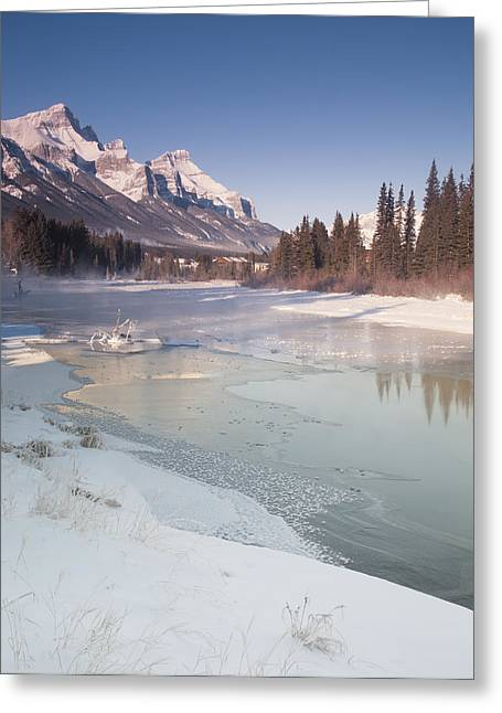 Mount Rundle And Creek In Winter  Greeting Card