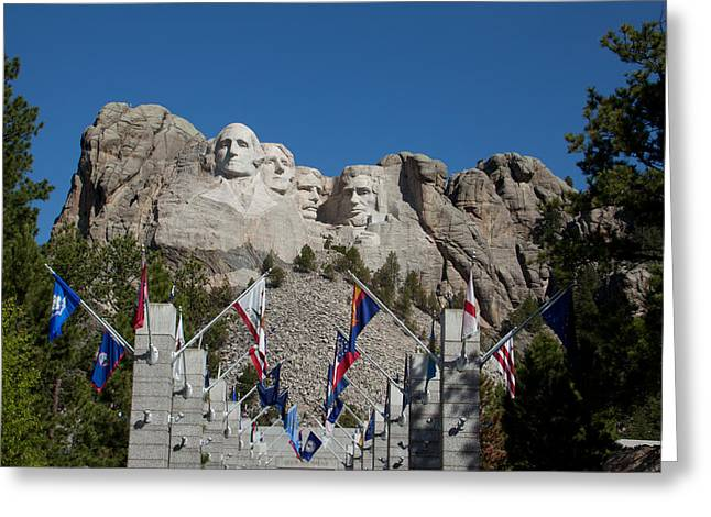 Mount Rushmore Avenue Of Flags Greeting Card