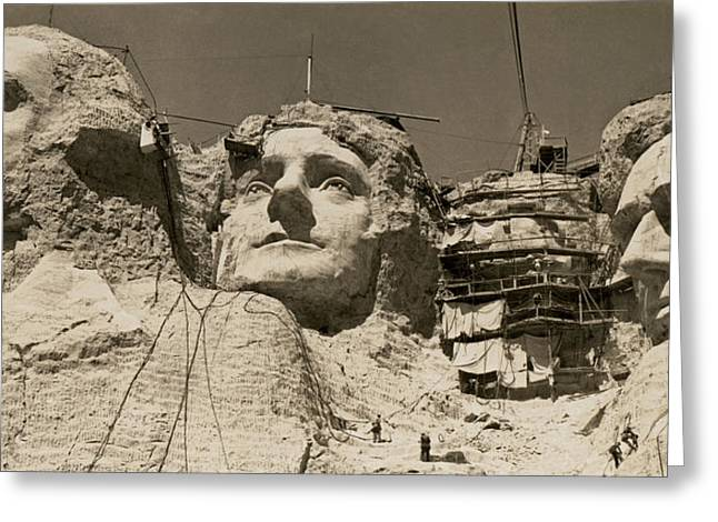 Mount Rushmore Construction Greeting Card by Underwood Archives