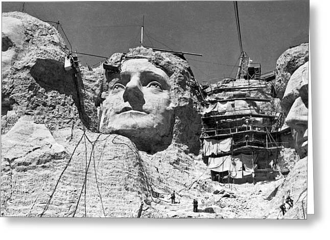 Mount Rushmore In South Dakota Greeting Card by Underwood Archives