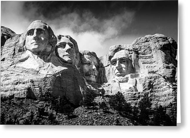Mount Rushmore National Memorial In Black And White Greeting Card