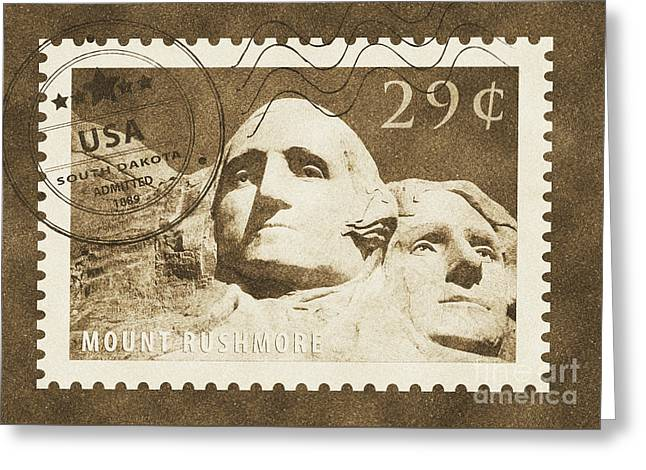 Mount Rushmore Washington And Jefferson South Dakota Vintage Stamp Themed Poster Greeting Card by Shawn O'Brien