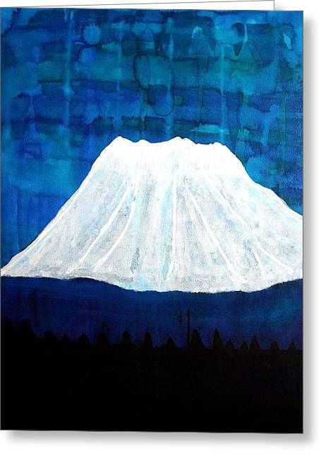 Mount Shasta Original Painting Greeting Card by Sol Luckman