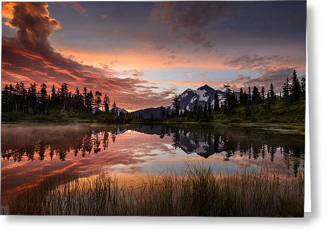 Mount Shuksan Fiery Sunrise Greeting Card