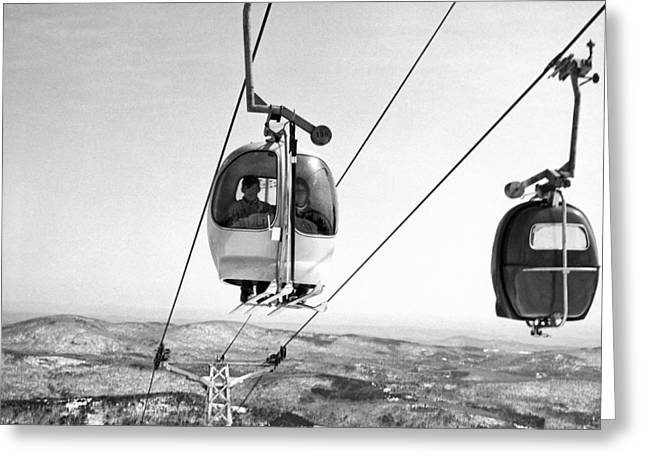 Mount Snow Two Person Ski Lift Greeting Card by Underwood Archives