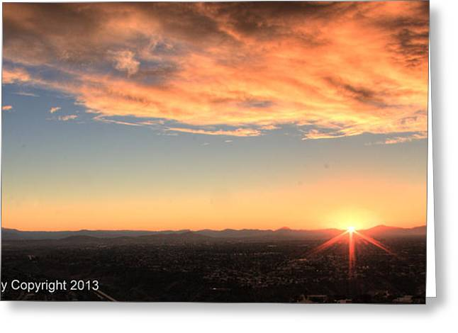 Greeting Card featuring the photograph Mount Soledad Panoramic Sunrise by Jeremy McKay
