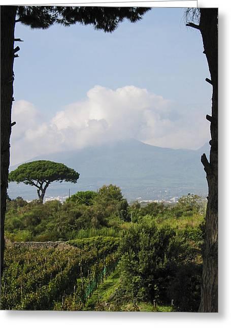 Mount Vesuvius Greeting Card by Adam Romanowicz