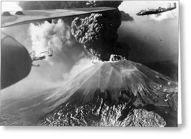 Mount Vesuvius Erupting Greeting Card by Us Air Force