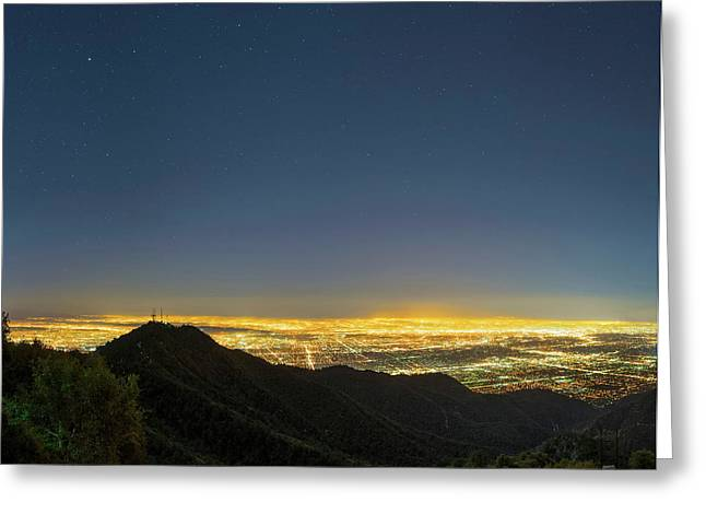 Mount Wilson And Los Angeles Greeting Card by Babak Tafreshi