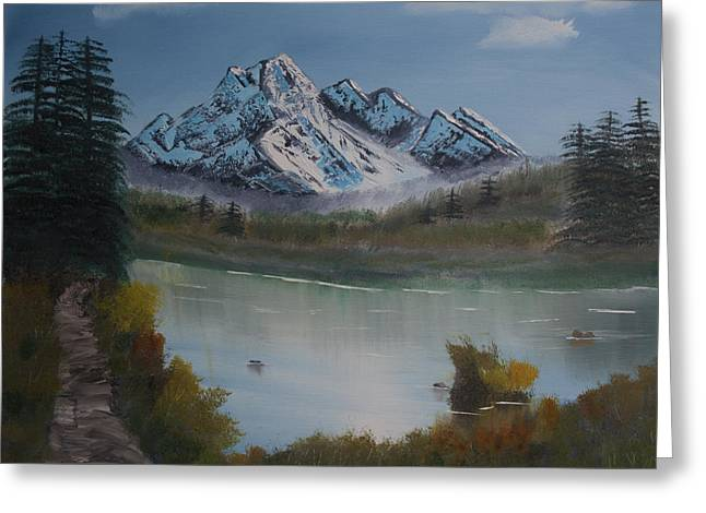 Mountain And River Greeting Card by Ian Donley
