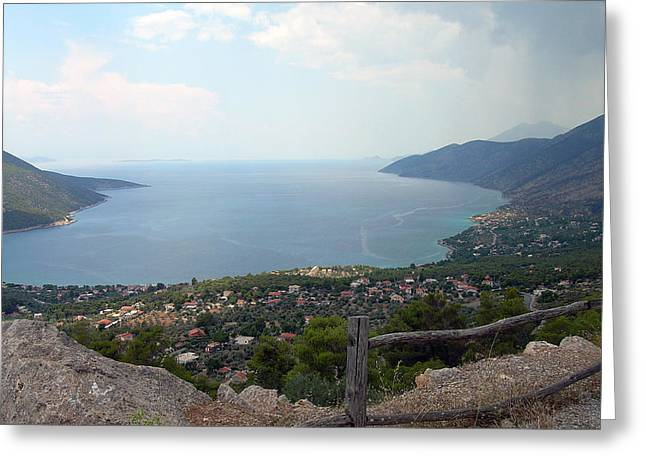 Mountain And Sea View In Greece Greeting Card
