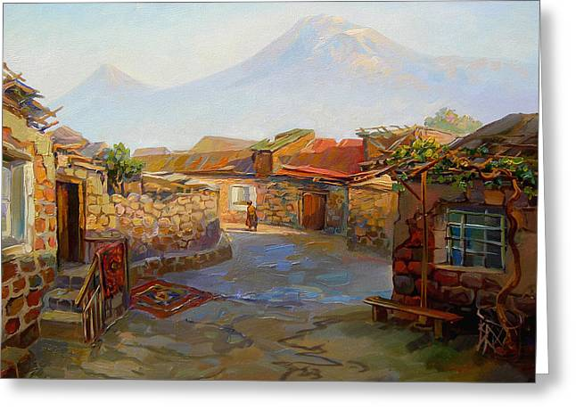Mountain Ararat And The Old Part Of Yerevan. Greeting Card by Meruzhan Khachatryan
