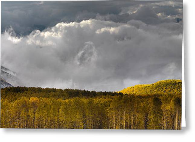 Mountain Autumn Panoramic Greeting Card by Leland D Howard