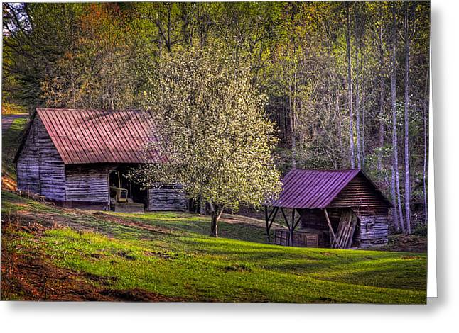 Mountain Barns In North Carolina Greeting Card by Debra and Dave Vanderlaan