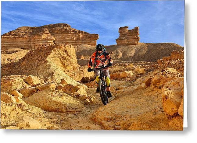 Mountain Biker In A Desert Greeting Card