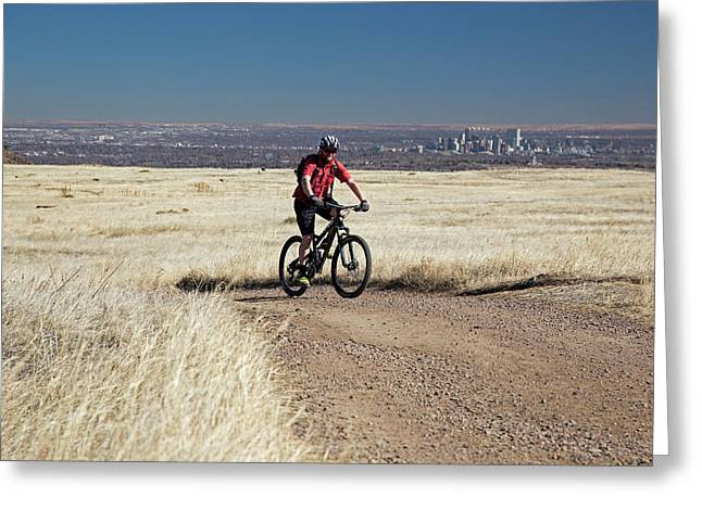 Mountain Biker Greeting Card by Jim West