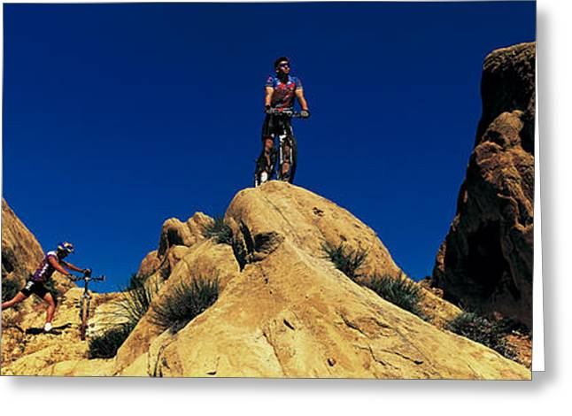 Mountain Bikers Ca Usa Greeting Card by Panoramic Images